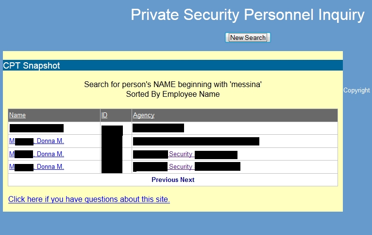Personal Security File