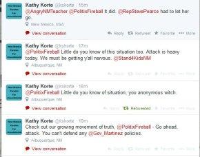 Hilarious: Krazy Kathy Korte claims she's afraid ofme?