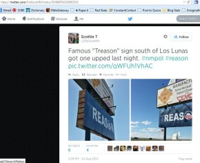 "Democrat campaign manager jokes about vandalism to Albuquerque ""Treason"" sign"