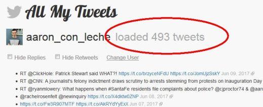 Cantu has 493 tweets according to All My Tweets, tweet-searching service